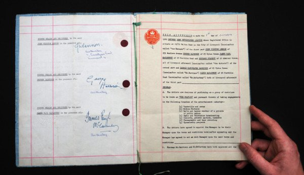 Beatles first recording contract 1961