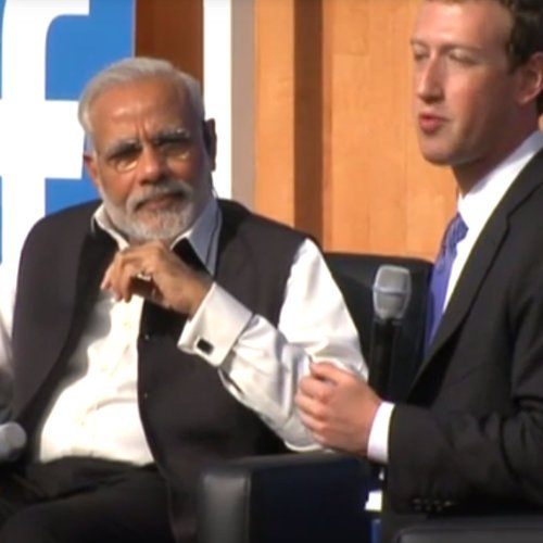 Narendra Modi and Mark Zuckerberg at Facebook HQ