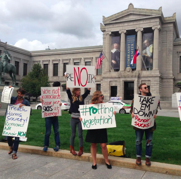 Renoir Sucks protest Boston museum
