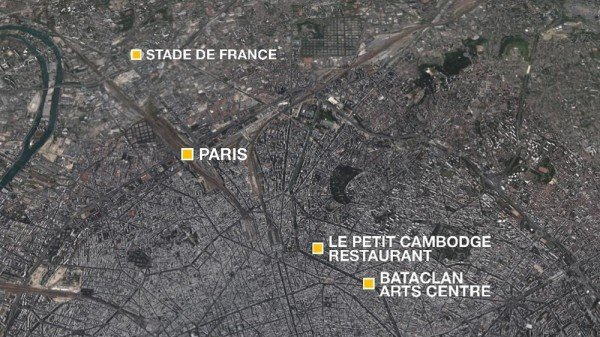 Paris attacks locations November 2015
