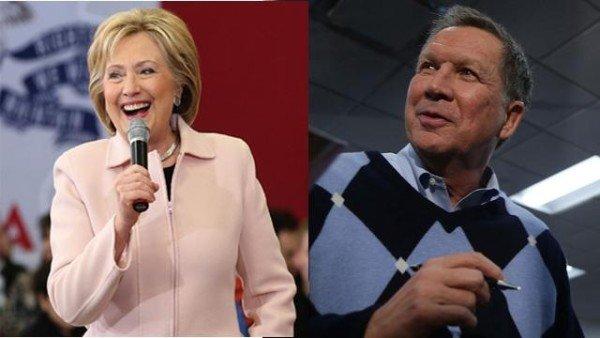 Hillary Clinton and John Kasic of New York