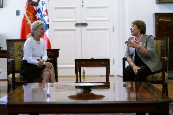 Kristine McDivitt Tompkins and Michelle Bachelet