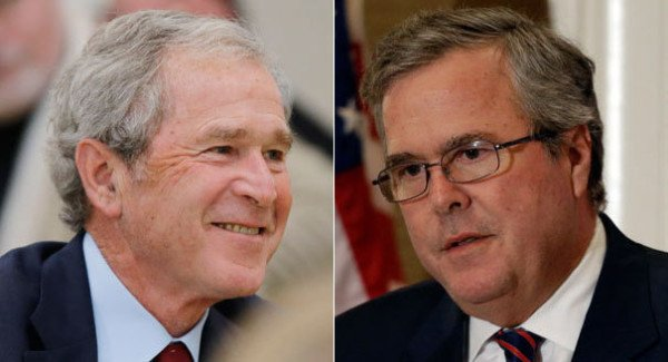 George W Bush and Jeb Bush campaign