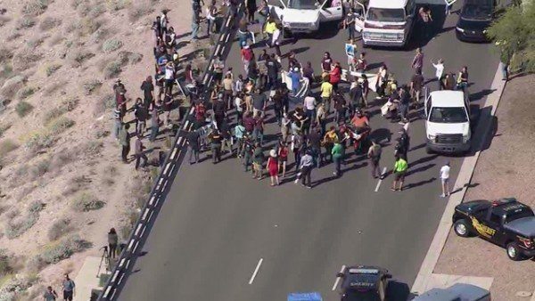 Donald Trump protesters block Arizona road
