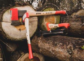 splitting firewood with a maul
